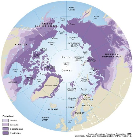 Arctic permafrost location