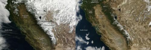 Sneeuw in California op 18 januari 2013 (links) en 2014 (rechts)