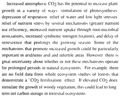 Knipsel uit het eerste IPCC rapport, uit 1990